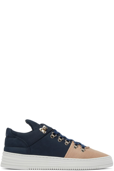 Filling Pieces - Navy & Tan Perforated Sneakers