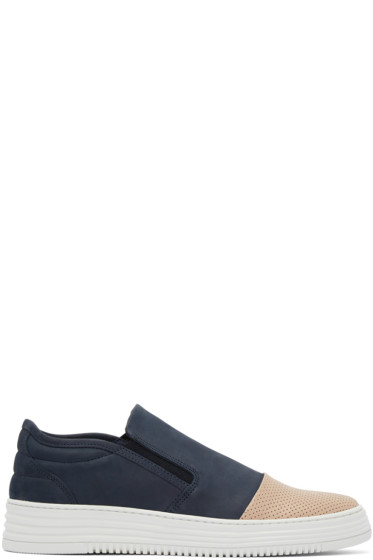Filling Pieces - Navy & Tan Perforated Slip-On Sneakers