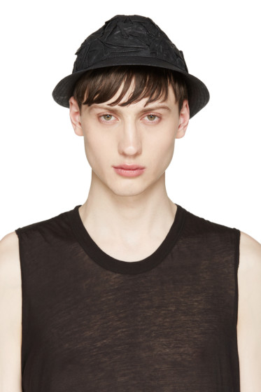 Isabel Benenato - Black Crinkled Bucket Hat