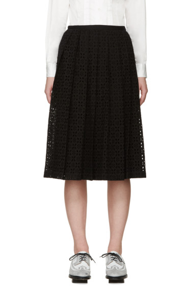Tricot Comme des Garçons - Black Pleated Broderie Anglaise Skirt