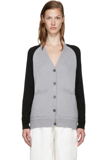 MM6 Maison Margiela - Grey & Black Wool Cardigan