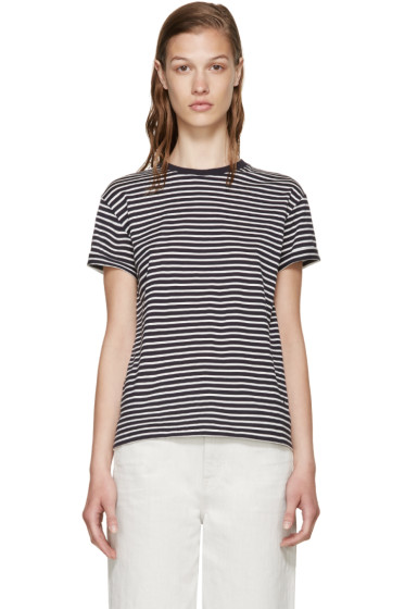 T by Alexander Wang - Navy & White T-Shirt