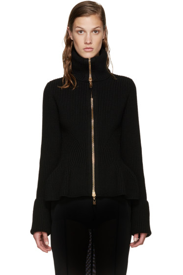 Alexander McQueen - Black Wool Zip-Up Sweater