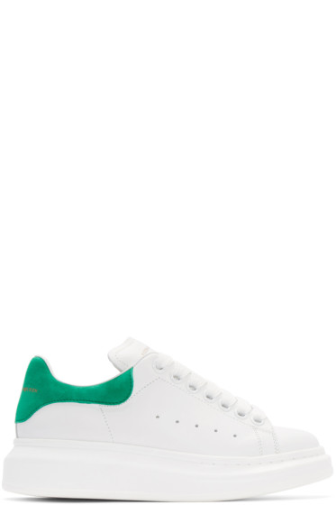 Alexander McQueen - White & Green Leather Sneakers