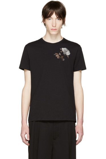 Alexander McQueen - Black Embroidered Floral T-Shirt