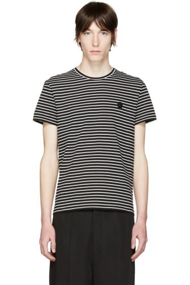 Alexander McQueen - Black & White Striped Skull T-Shirt