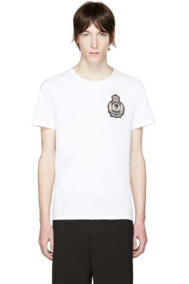 Alexander McQueen - White Embroidered Skull T-Shirt