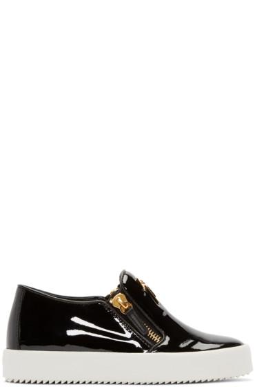Giuseppe Zanotti - Black Patent Leather London Slip-On Sneakers