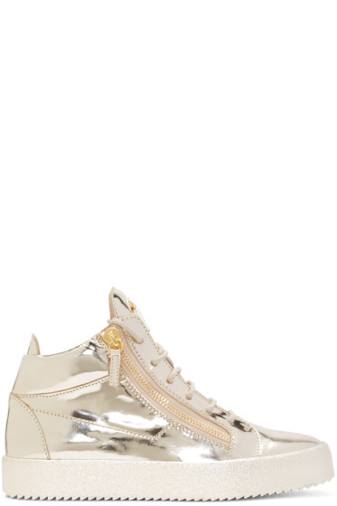 Giuseppe Zanotti - Gold Patent Leather London High-Top Sneakers