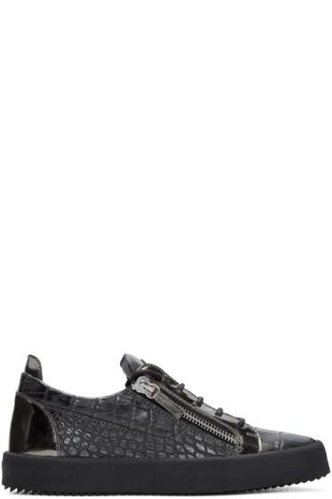 Giuseppe Zanotti - Grey Croc-Embossed London Sneakers