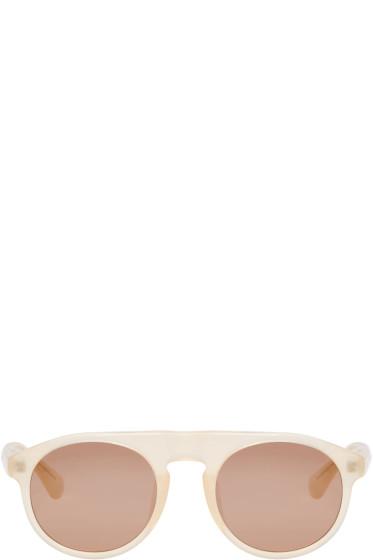 Dries Van Noten - Beige Linda Farrow Edition Flat-Top Sunglasses