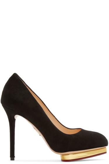 Charlotte Olympia - Black Suede Dotty Heels
