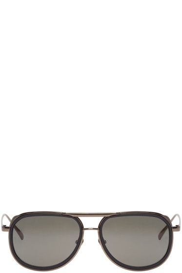 Linda Farrow Luxe - Black Rubberized Sunglasses