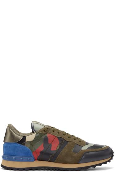 Valentino - Green & Red Camo Sneakers