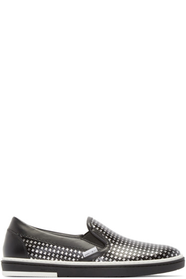 Jimmy Choo - Black & Silver Houndstooth Grove Sneakers