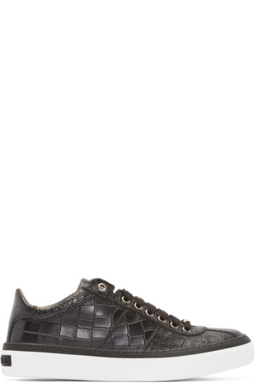 Jimmy Choo - Black Croc-Embossed Portman Sneakers