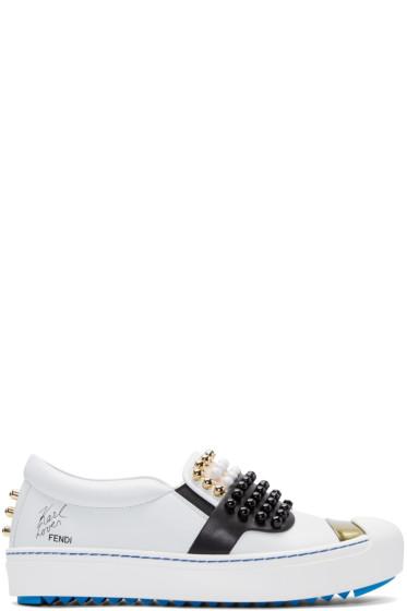 Fendi - White Leather Studded Karlito Sneakers