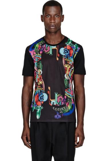 Juun.J - SSENSE Exclusive Black Gear-Print T-Shirt