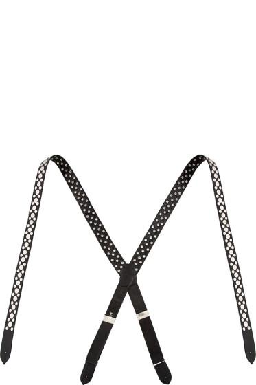 Rodarte - Black Leather Studded Suspenders