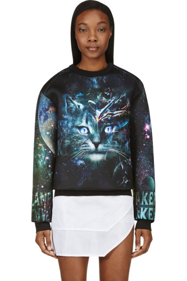 Juun.J - SSENSE Exclusive Black & Teal Cosmic Cat Sweatshirt