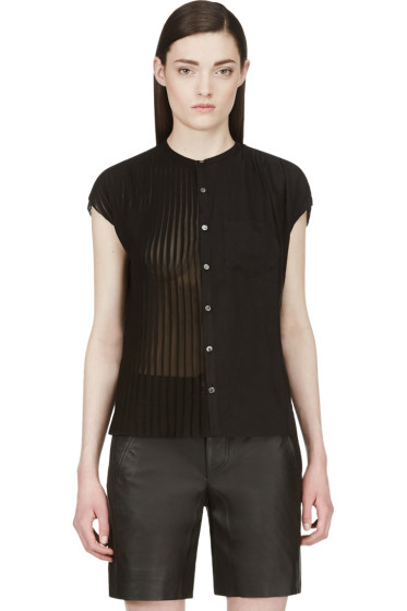 Undercover - Black Half Pleated Open Back Blouse