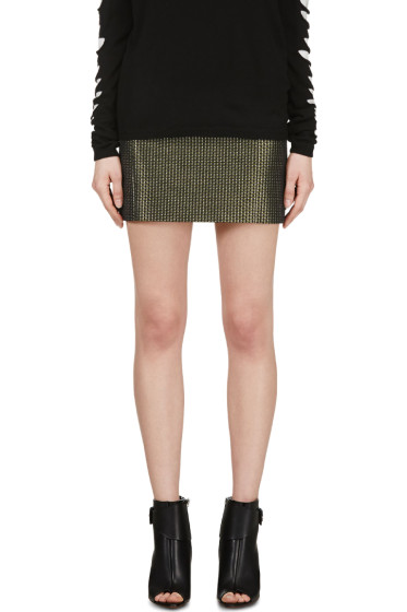 Cédric Charlier - Green & Silver Wire Woven Skirt