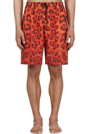 Katie Eary - Vermilion Leopard Swim Shorts