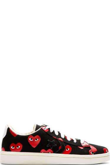 Comme des Garçons Play - Black & Red Heart Print Converse Pro Edition Sneakers