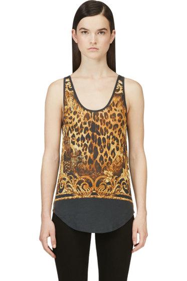 Balmain - Black and Yellow Leopard Print Tank Top