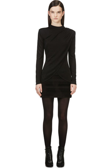 Balmain - Black Drape Front Knit Sweater