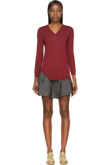 Carven - Burgundy Combination Sweater Dress