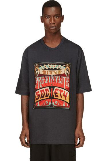 Juun.J - Grey & Orange Oversize Society T-Shirt