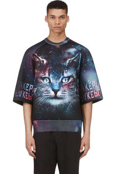 Juun.J - SSENSE Exclusive Purple & Teal Cosmic Cat Oversized Shirt