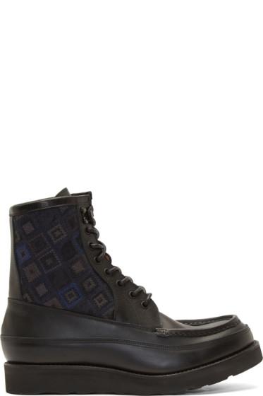 White Mountaineering - Black Diamond Jacquard Boots