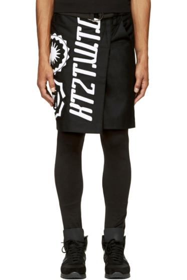 KTZ - Black Terrycloth Appliqué Wrap Skirt