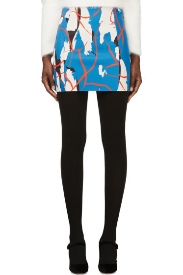 Cédric Charlier - Blue & Red Abstract Patterned Skirt