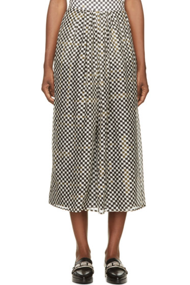 Roseanna - Green & Grey Silk Racing Check Long Skirt