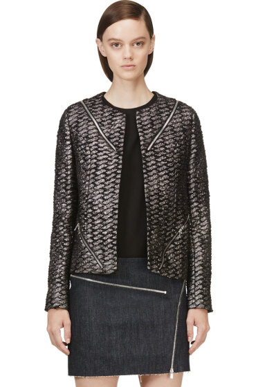 Jay Ahr - Black & Metallic Silver Tweed Zip Blazer