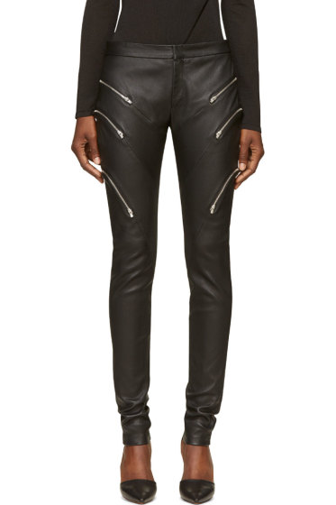Jay Ahr - Black Grained Leather Zipped Trousers