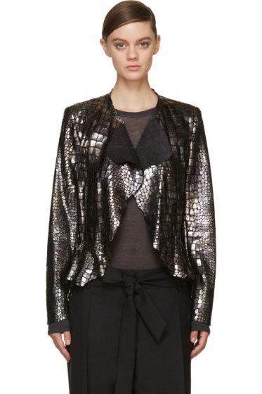Isabel Marant - Silver Croc Leather Ramie Jacket