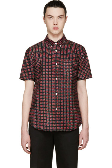 Band of Outsiders - Red Printed Short Sleeve Shirt