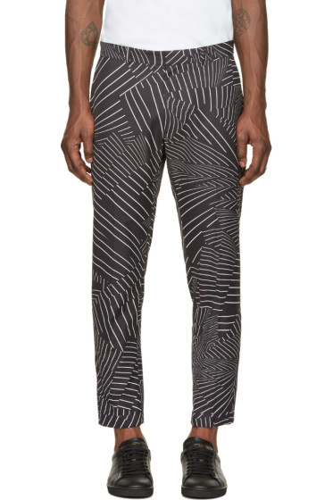 Christopher Kane - Black & White Deconstructed Pinstripe Turn Up Trousers