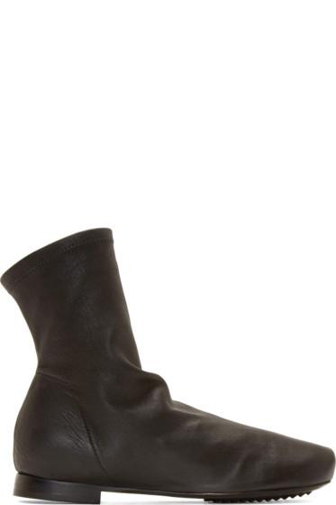 Rick Owens - Black Stretch Leather Scuba Sock Boots