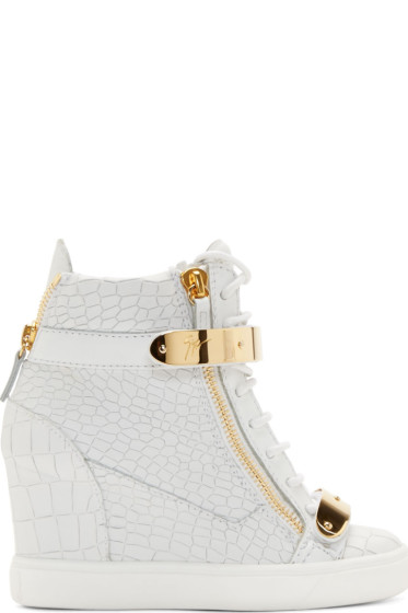 Giuseppe Zanotti - White Croc-Embossed Wedge Sneakers