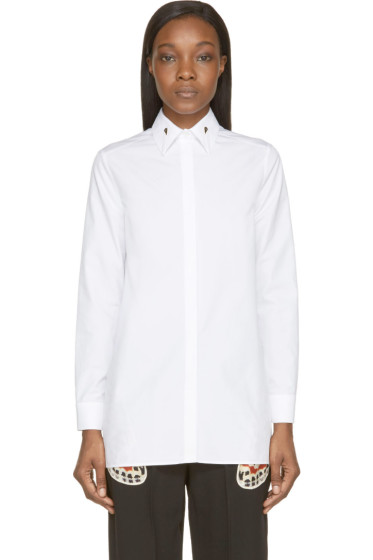 Givenchy - White Poplin Long Button-Up Shirt