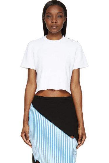Proenza Schouler - White Knit Cropped & Buttoned T-Shirt