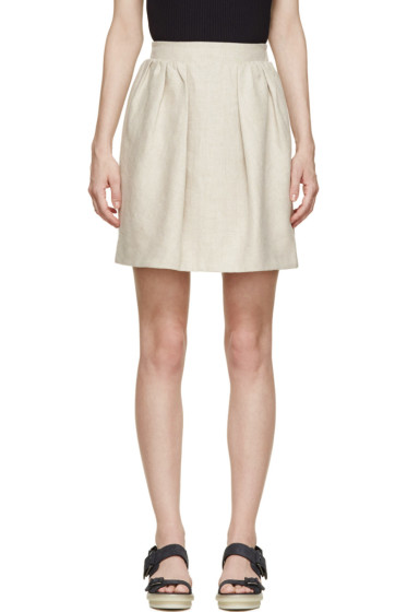 Carven - Beige Linen Pleated Skirt
