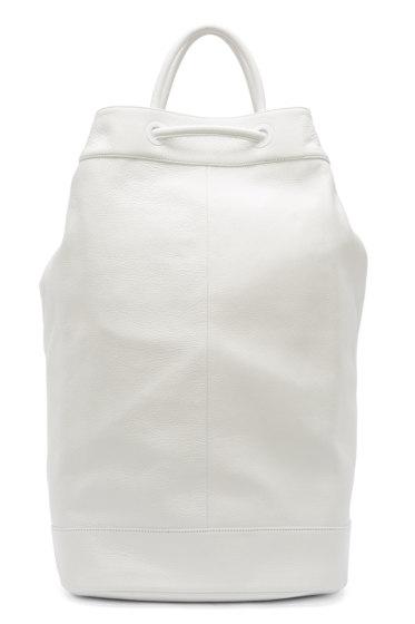Juun.J - White Leather Drawstring Backpack