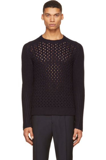 Neil Barrett - Dark Navy Plaited Knit Crewneck Sweater