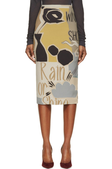 Burberry Prorsum - Khaki & Green Silk Poet Print Pencil Skirt